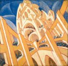 Virgilio Marchi, Building Seen from a Veering Airplane (Edificio visto da un aeroplano virante), 1919–20. Tempera on canvased paper, 130 x 145 cm. Private collection, Switzerland