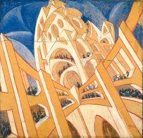 Virgilio Marchi, Building Seen from a Veering Airplane (Edificio visto da un aeroplano virante), 1919–20. Tempera on canvased paper, 130 x 145 cm. Private collection, Switzerland