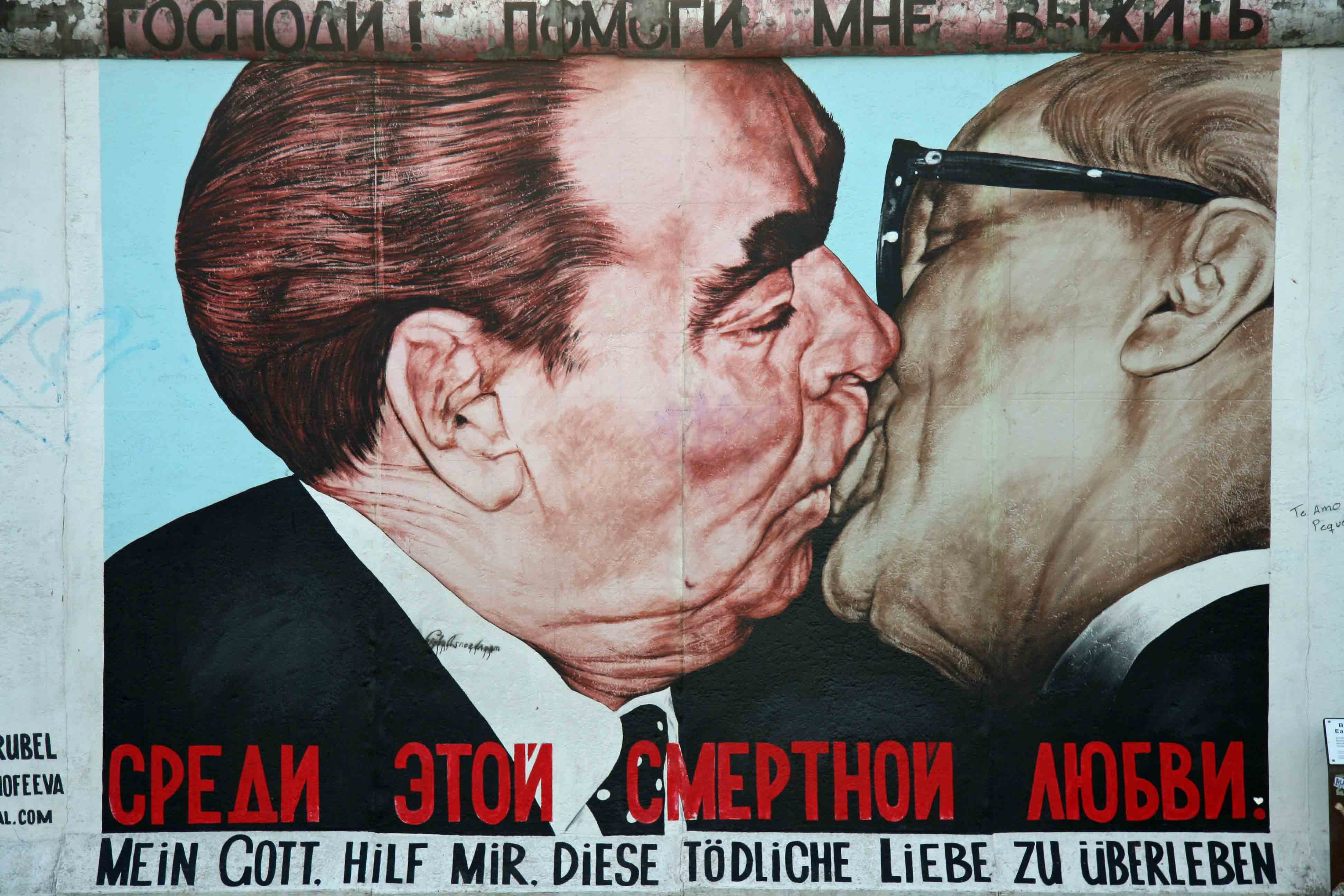 Soviet premier Leonid Brezhnev embraces East German president Axel Honecker