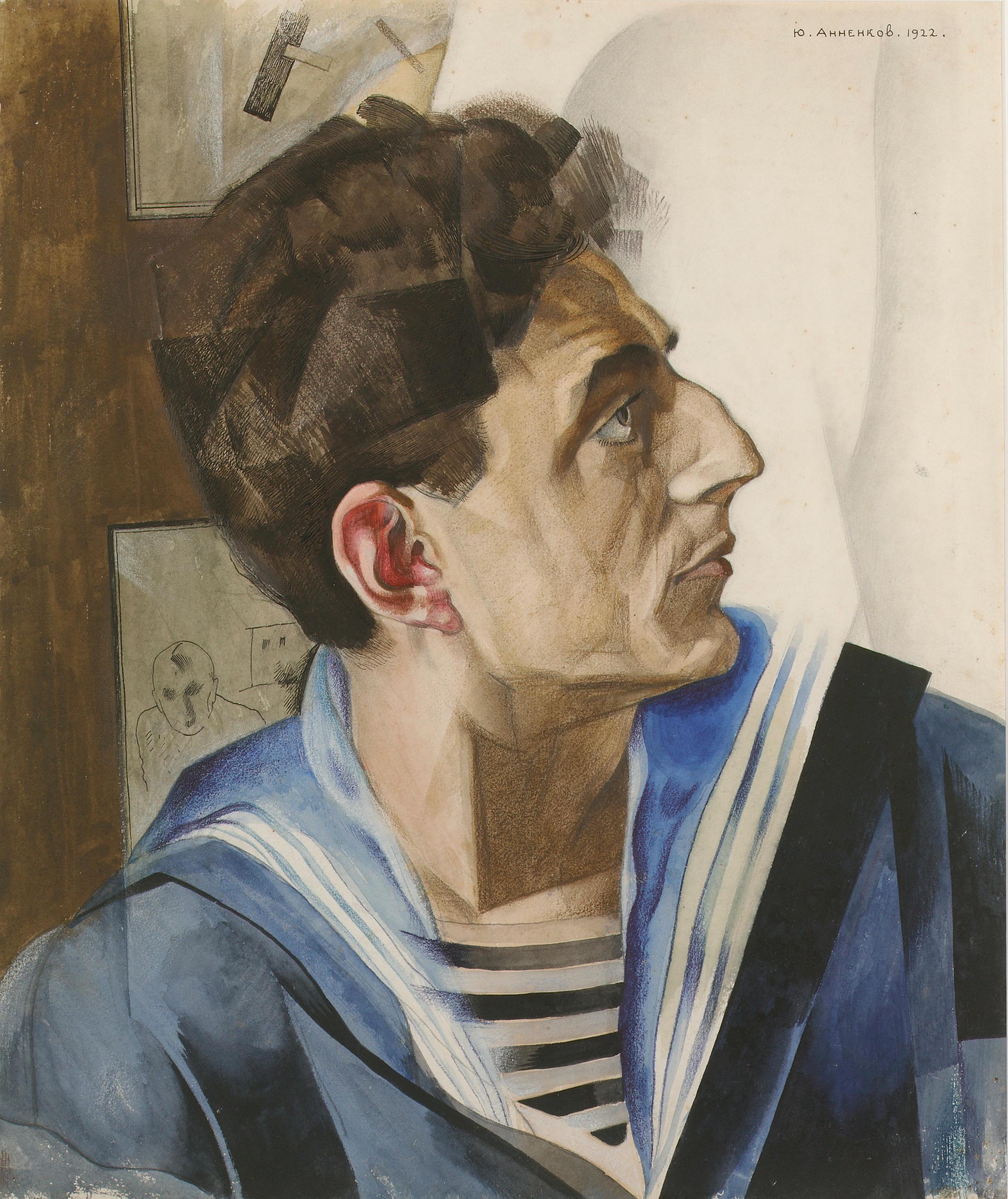 Yuri Pavolovich Annenkov (1889-1974) Portrait of Daniel Geccen 44.5 x 37.7 cm. (17 1:2 x 14 5:8 in.)