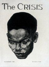 The Crisis, Cover, portrait of a negro man. Aaron Douglas. November 1926
