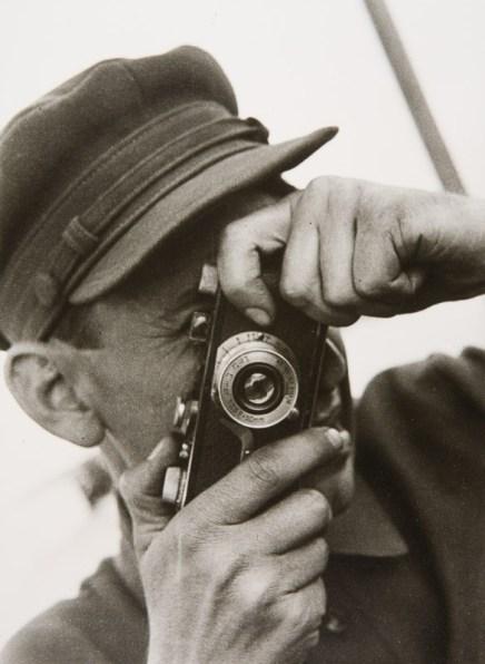 Photo-jounalist Vadim Kovrigin at the Moscow-Volga Canal, 1934