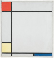 PIET MONDRIAN, 1927 COMPOSITION WITH RED, YELLOW, AND BLUE oil on canvas in the artist's original frame canvas size- 37.8 by 35cm