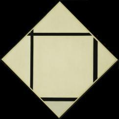 Piet Mondrian. (Dutch, 1872-1944). Tableau I- Lozenge with Four Lines and Gray. 1926. Oil on canvas, 44 3:4 x 44%22 (113.7 x 111.8 cm) diagonal measurements. Katherine S. Dreier Bequest