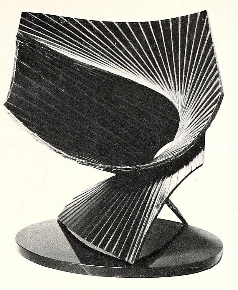 """Antoine Pevsner, projection into space (1938-1939), bronze, oxidized brass, and black marble base, 19"""" high2"""