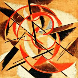 Liubov Popova, Spatial-Force Construction. 1921 Oil with marble dust on plywood, 112.7 x 117 cm