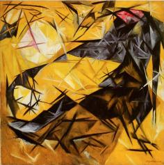 Natalia Goncharova, Cats (rayist perception) in rose, black, andyellow). 1913 Oil on canvas. 84.5 x 83.8 cm