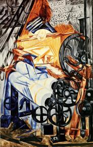 Natalia Goncharova, The Weaver (Loom + Woman), 1912-13 Oil on canvas. 153.3 x 99 cm