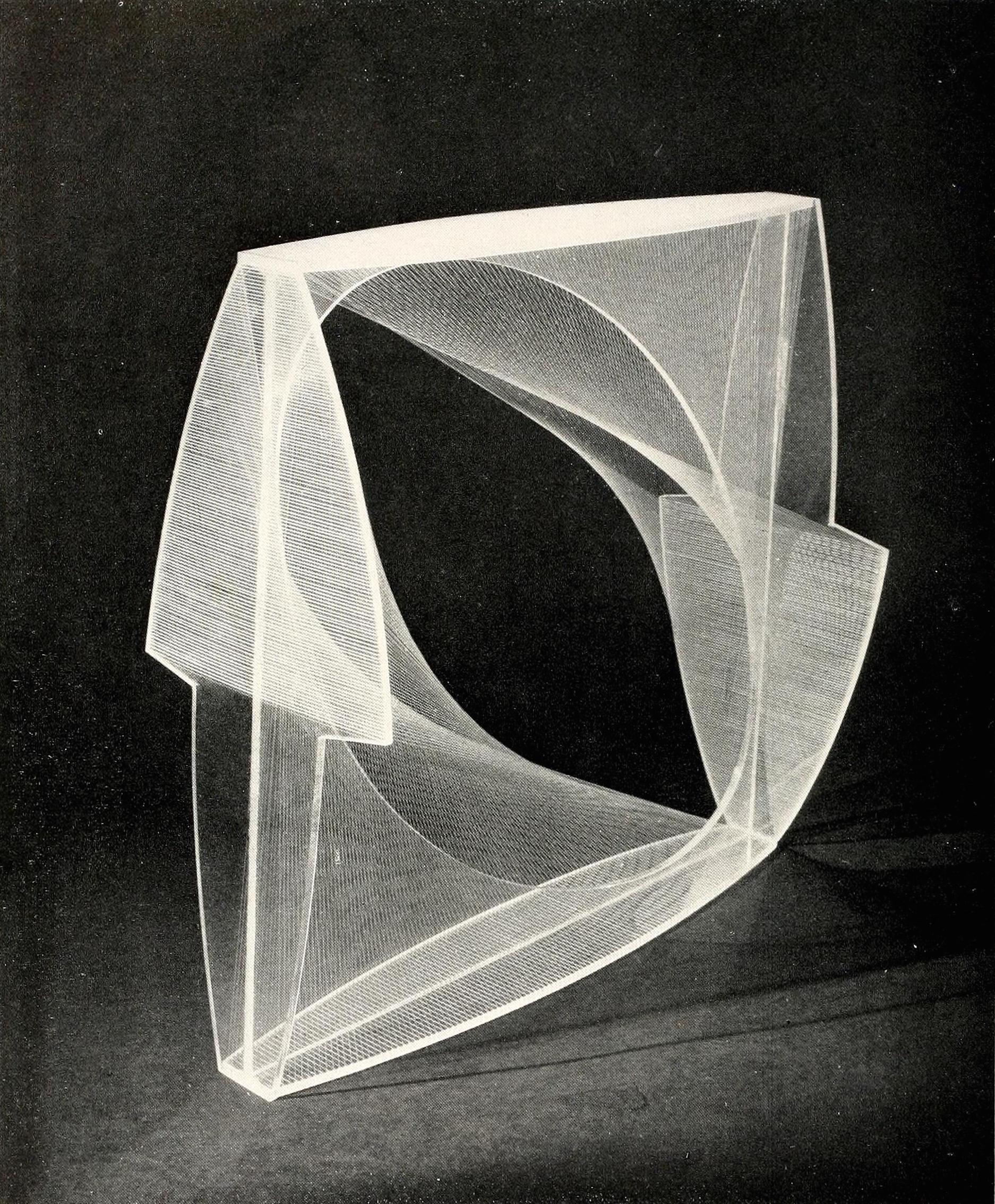 "Naum Gabo, linear construction, variation (1942-1943), Plastic, 18"" square1"