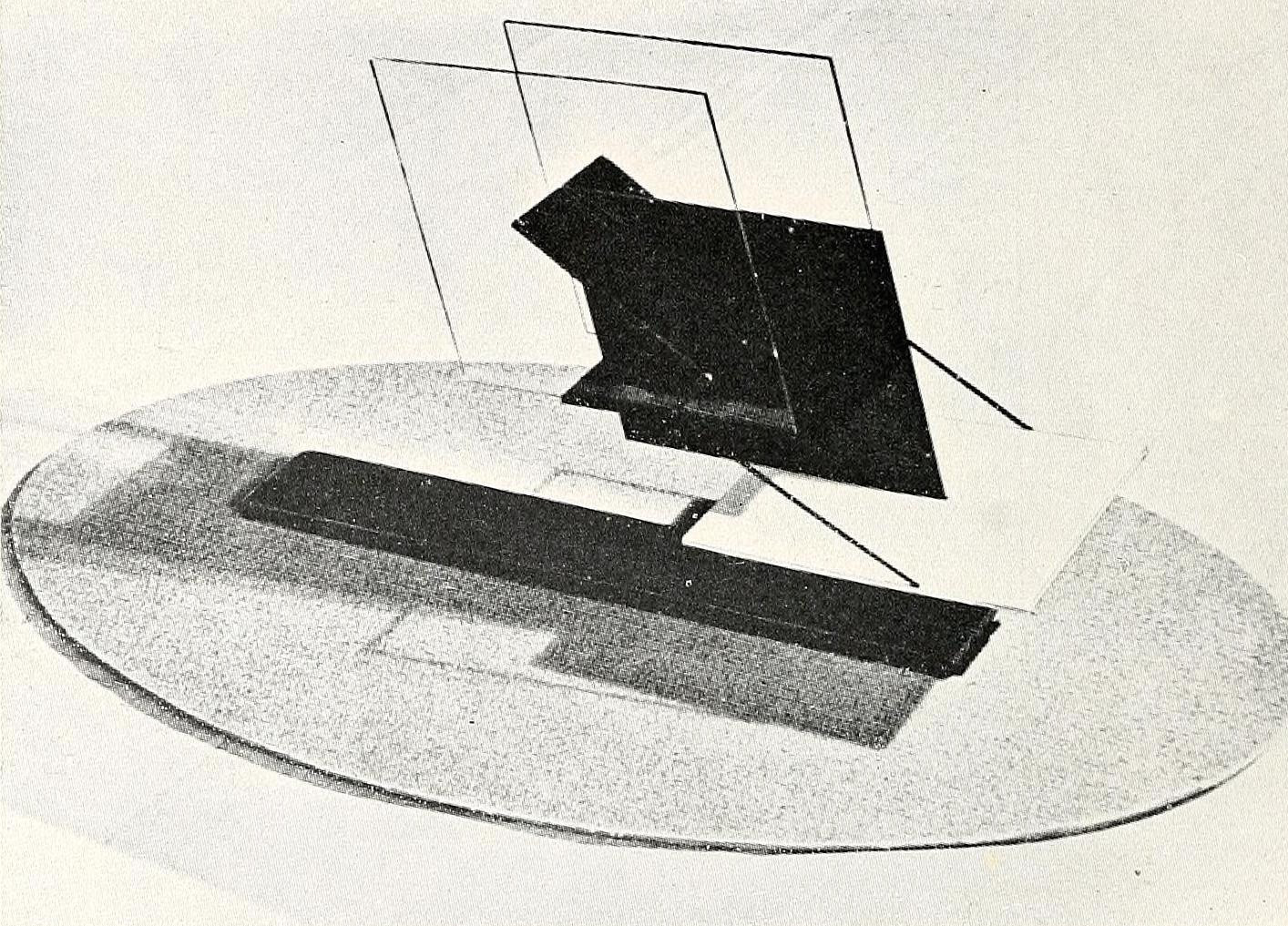 Naum Gabo, monument for an airport (1924-1925), glass and metal, 5 feet high