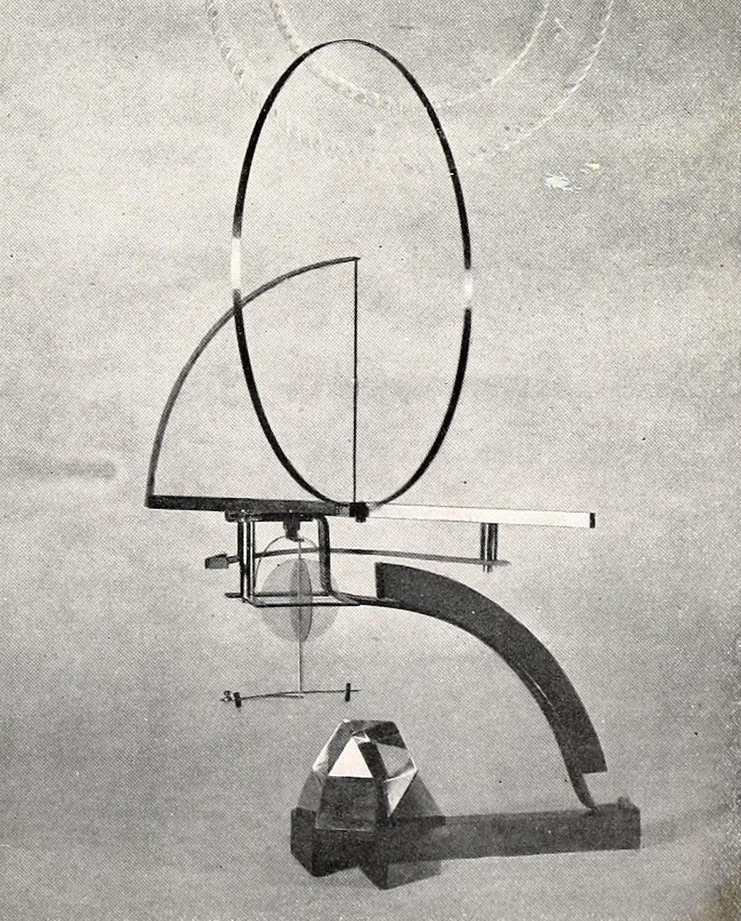 Naum Gabo, monument for the institute of physics and mathematics (1925), glass and bronze 24 inches high