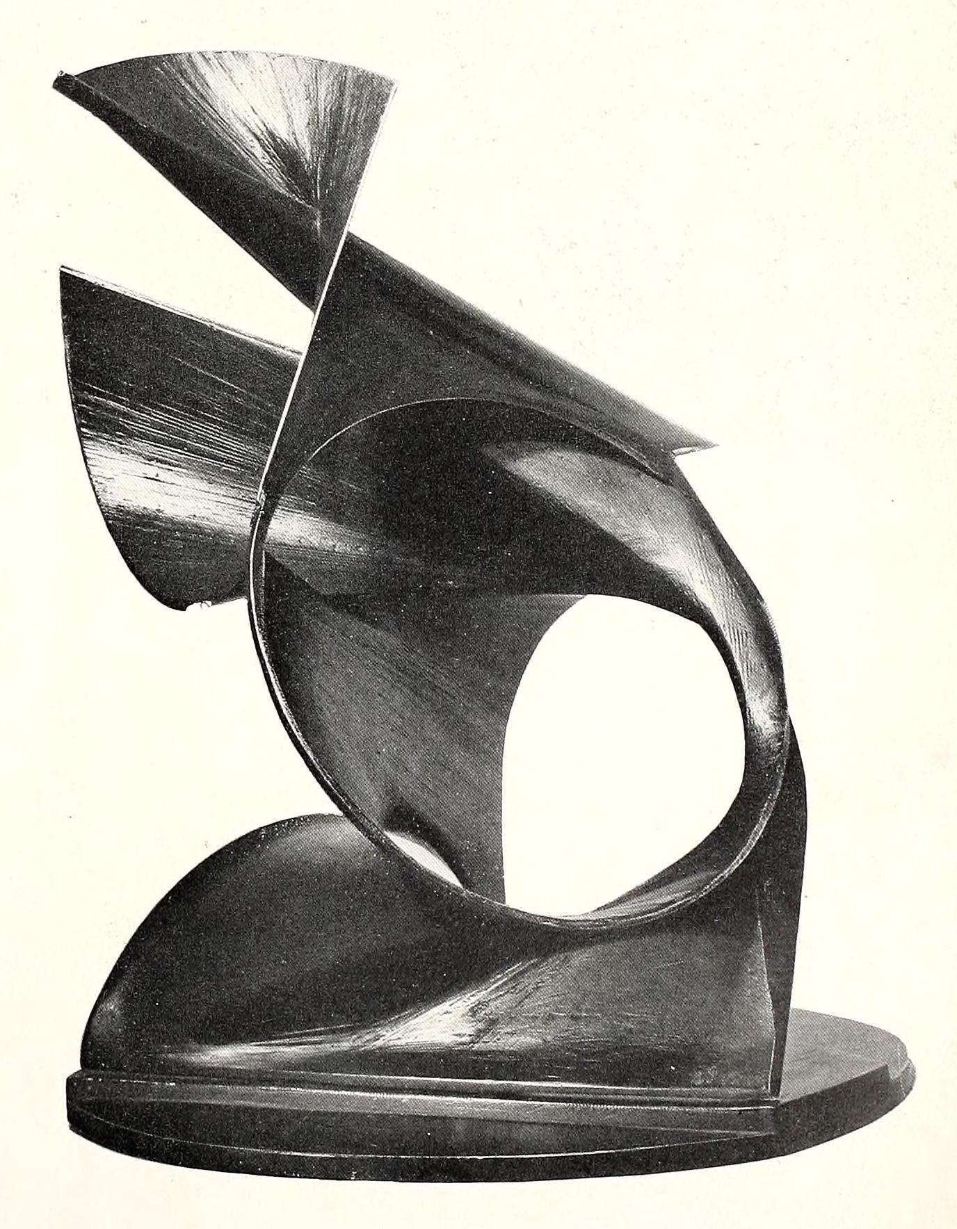 "Naum Gabo, spiral construction (1944), brass and oxidized tin on tin base, 20"" high"