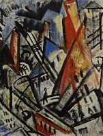 Olga Rozanova, Fire in the City (Cityscape). 1914 Oil on metal. 71x71 cm1