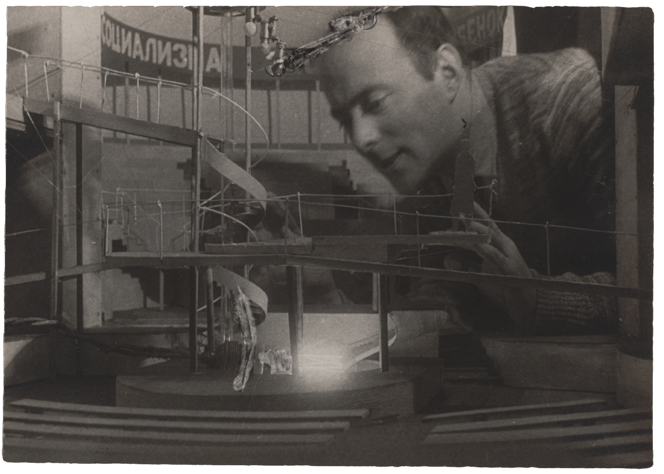"""Untitled (El Lissitzky Working on a Stage Design of Sergei Tretyakov's Play """"I Want a Baby"""" in the Meyerhold Theater"""
