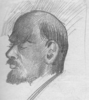 Vladimir Ilyich Lenin sketched by N.!. Bukharin. 15 June 1927