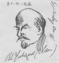 Vladimir Ilyich Lenin sketched by N.!. Bukharin, 31 March 1927