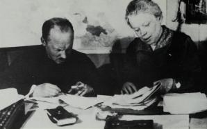 Bukharin and Mariia Ulianova (Lenin's sister) at the Pravda editorial office, mid-1920s
