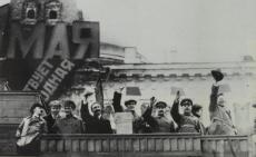 Left to right - Bukharin, Lazar Kaganovich, Anastas Mikoian, Aleksei Rykov, Valerian Kuibyshev, Iosif Stalin, Kliment Voroshilov, and Ian Rudzutak, May Day 1926