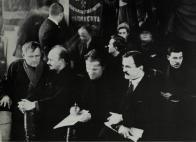 Nikolai Bukharin, Sergei Kirov, and Viacheslav Molotov at a Leningrad party meeting, 1926