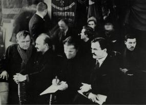 Nikolai Bukharin, Sergei Kirov, and Viacheslav Molotov at a Leningrad party meeting, 1926