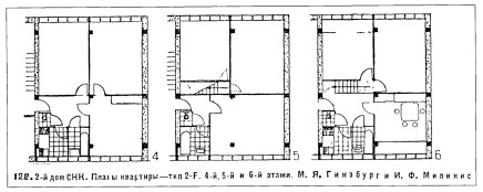 2-F-unit plans, from Moisei Ginzburg, Zhilishche (Moscow, 1934), pg 104
