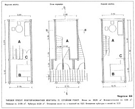 F-unit plans - (A) common room, (B) sleeping niche, (C) niche for removable Frankfurt-style kitchen, from STROIKOM (1930), pg 19