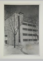 Gruntal, V.G. Exterior view of the communal centre of the People's Commissariat for Finance (Narkomfin) Apartment Building, 25 Novinskii Boulevard, Moscow, after 1930