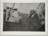Gruntal, V.G. Interior view of Nikolai Milutin's apartment in the People's Commissariat for Finance (Narkomfin) Apartment Building from the upper level, 25 Novinskii Boulevard, Moscow, after 1930