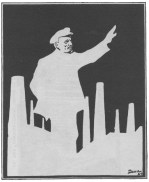 LENIN ADDRESSES THE CROWD FROM THE FACTORY CHIMNEYS (drawing by Deni)