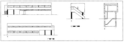 Mechanical laundry building - (A) east elevation, (B) west elevation, (C) north elevation, (D) east-west section, circa 1928