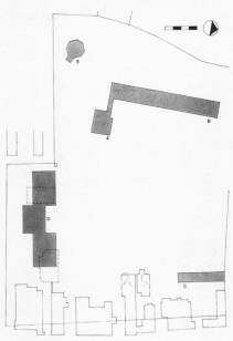 Narkomfin site plan, 15 May 1933, with the garden ring road to the east at bottom - (A) communal block, (B) living block, (C) mechanical laundry building, (D) proposed Leontovich scheme for the second phase, (E) 19th-century octagonal pavilion