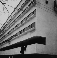 Robert Byron Narkomfin apartments Moscow, USSR Architects: Moisei Ginzburg and Ignatii Milinis (1928-1929) Type: A-negative Exterior view, front facade, detail