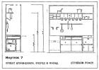 Plan and elevation of minimal kitchen