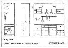 Plan and elevation of minimal kitchen