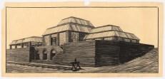 Hans Poelzig Fabrik- und (oder?) Ausstellungsgebäude, Emmagrube Schaubild, Ansicht der Mansardglasdächer (1914)
