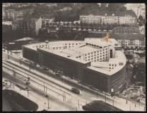 Hans Poelzig Haus des Rundfunks, Berlin-Charlottenburg Perspektivische Ansicht (Vogelschau) während des Bauens 2