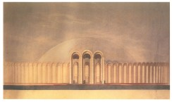 Ivan Leonidov, color sketch for the city of the sun (1940s-1950s)h