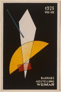 László Moholy-Nagy (20.07.1895 - 24.11.1946), Stecher Title Karte für Bauhaus-Ausstellung Work Type Midas-Objekt Date 1923 Material Farblithographie Measurements Blattmaß 14,2 x 9,4 cm