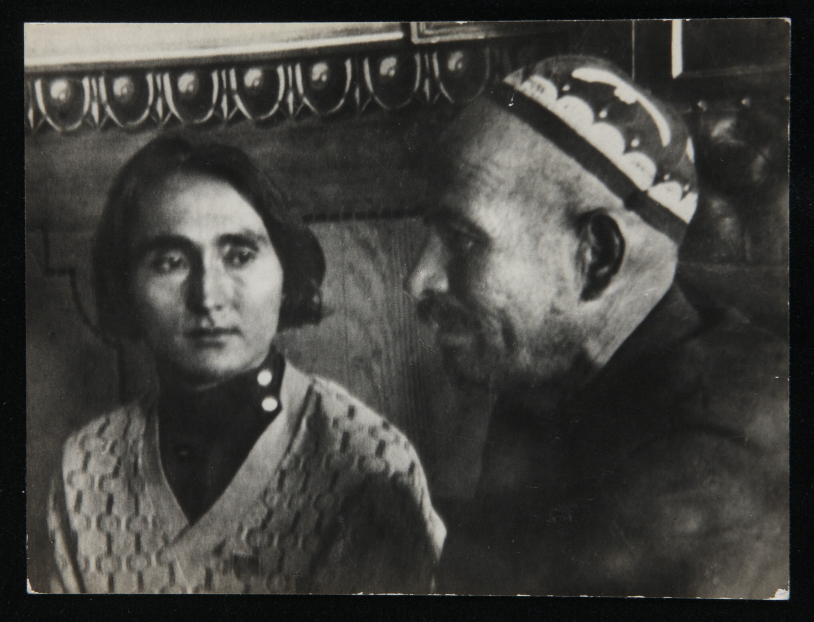 Langston Hughes, President and Vice-President of Uzbekistan, Achun Babaief (right) and Jahan Abinova (left). The President was formerly a plowman; Jahan Abinova, an inmate of a harem. (Soviet Central Asia)