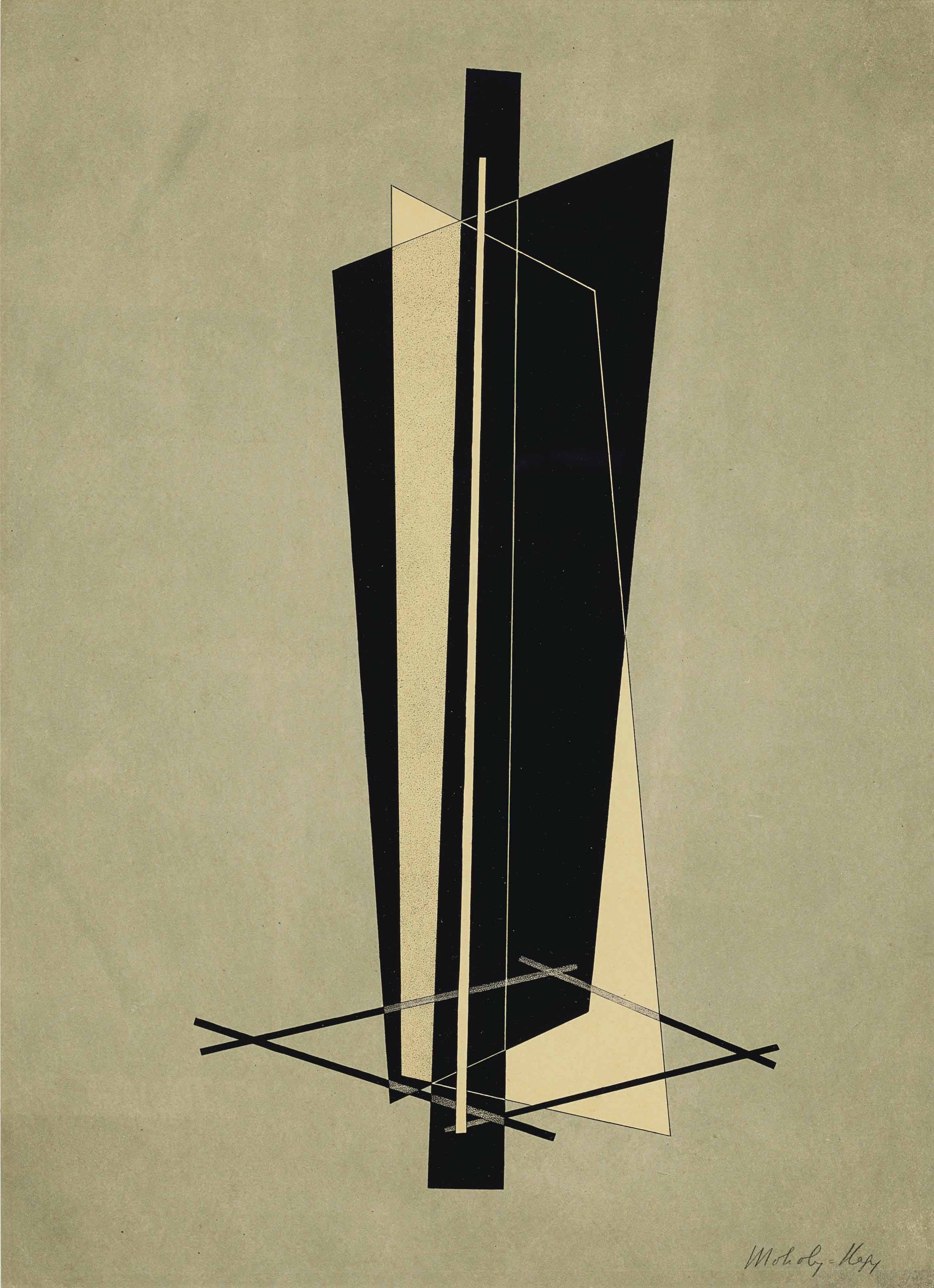LASZLO MOHOLY-NAGY (1895-1946) Konstrucktion VI, from 6. Kestner-Mappe 6 Konstruktionen lithograph in colors, 1923