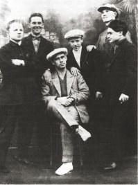 Leonidov with students in his studio at VKhUTEIN, 1930, l-r S Kibirev, N Pavloc, I Leonidov, A Ermilov, G P'iankov, V Korsunskii