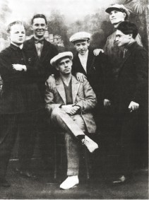 Leonidov with students in his studio at VKhUTEIN, 1930, l-r S Kibirev, N Pavloc, I Leonidov, A Ermilov, G P'iankov, V Korsunskii