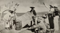 """Production still showing Eisenstein, Aleksandrov, and Tisse at work on """"Que viva Mexico!"""" Here Eisenstein's collective production company is at work, Eisentein on the right"""