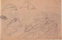 A. Mukhin. Supervisor L, Vesnin. Tropical Plants Paviiion in the Botanical Garden. Sketches. 1923 a