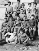A young Vladimir Mayakovsky (third from left in the third row) among students from the Kutaisi high school, Georgia (undated)