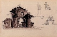 E. Norvert. Front Gates of a Hydroelectric Power Plant. Sketches. Early 1920s