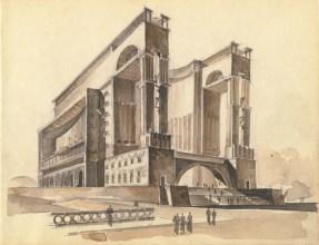 E. Stamo. Supervisors L. Rudnev, A. Velikanov, I. Rozhin. Museum of World Revolution. Sketches. 1936
