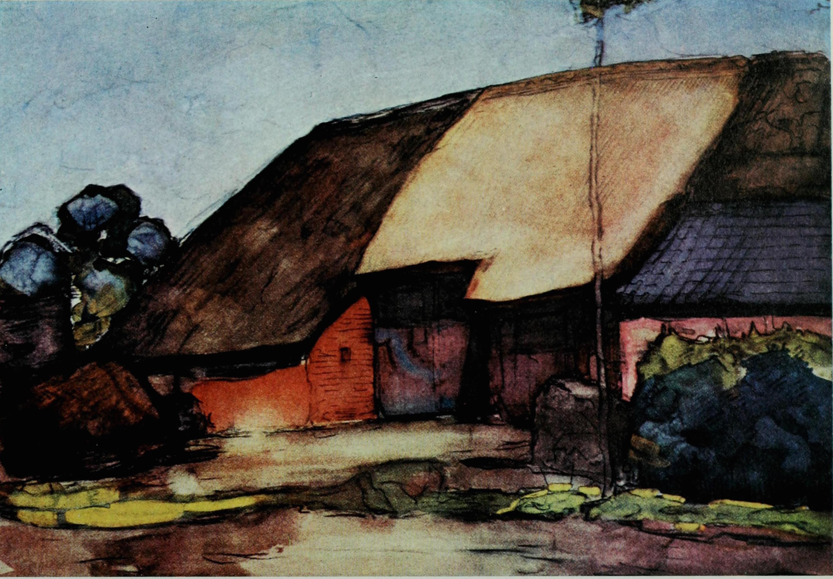 Farm at Nistelrode c. 1904, watercolour, 17 × 24 in (44 × 63 cm) private collection, Holland