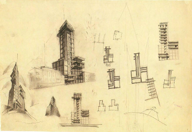 G. Barkhin. Izvestiya Newspaper Office and Printing Factory in Moscow. Sketch. 1925 b