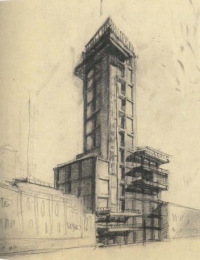 G. Barkhin. Izvestiya Newspaper Office and Printing Factory in Moscow. Sketch. 1925